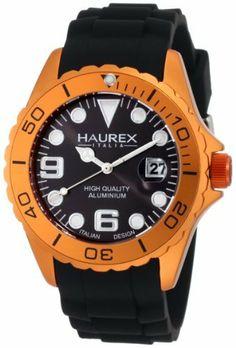 Haurex Italy Men's 1K374UON Ink Black Rubber Band Orange Case and Bezel Aluminum Watch Haurex. $99.99. Date at 3 o'clock; Luminous hands. Second hand feature, minute track. Orange aluminum case and bezel. Water-resistant to 99 feet (30 M). Black high quality aluminum case