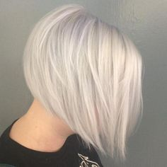 Straight Layered White Blonde Bob