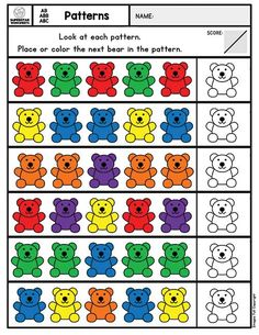 Free pattern worksheets for preschool and kindergarten. Free printable pattern cards, worksheets, activity mats, hands-on learning worksheets to build key number sense and sequencing math skills. Pattern Worksheets For Kindergarten, Patterning Kindergarten, Printable Preschool Worksheets, Preschool Learning Activities, Preschool Math, Free Printable, Worksheets For Preschoolers, Preschool Number Worksheets, Sequencing Worksheets