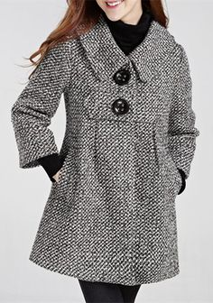 Chic Turn-Down Neck 3/4 Sleeve Buttoned Pocket Design Women's Coat