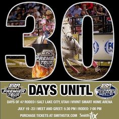 3 0  D A Y S ! ! !  The countdown is on to the Days of 47 Rodeo in Salt Lake City, Utah, July 19-23rd! Purchase your tickets at smithstix.com! #LeagueOfChampions #ERAracetoDallas #ERAonFOXSports2