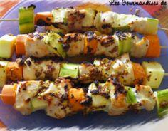 Recette - Brochettes poulet ananas au lait de coco et au curry   750g