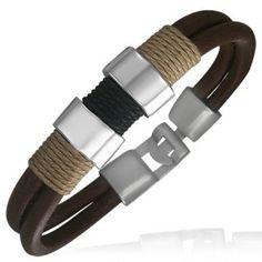 Brown Leather Modern Surf Bracelet For Men