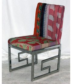Greek key dining chair, the base in stainless steel and covered in vintage kantha quilted cotton x x LAC Eclectic Dining Chairs, Funky Chairs, Industrial Dining Chairs, Dining Room, Indian Fabric, Greek Key, Kantha Quilt, Accent Chairs, Upholstery