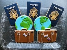 (1) Passport Cookies, Suitcase Cookies, Map of the... - NY Cookies By Victoria