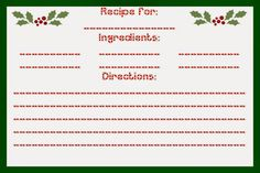 PRINTABLE Christmas Recipe Card, Plus tips for making your own from http://acrosstheblvd.blogspot.com/2014/10/christmas-recipe-card-printable.html