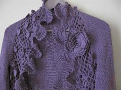 Knitted-Crocheted purple shrug