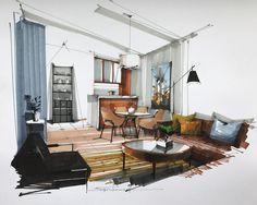 Best Home Decoration Magazine Interior Design Renderings, Drawing Interior, Interior Rendering, Interior Sketch, Interior Architecture, Interior And Exterior, Living Room Interior, Living Room Designs, Furniture Design