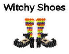 Halloween Brick Stitch Delica Bead Pattern Witch Shoes Ornament Pendant Digital PDF File