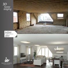 before&after   3D home staging   how to convert an attic with no apparent value...