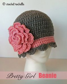 Crochet Rochelle: Pretty Girl Beanie sizes 3 mo to adult, with link to 0-3 mo  #crochet hat baby #crochet hat child #crochet hat adult
