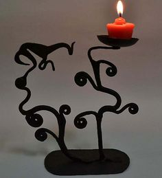 Chinhhari Arts Black Coloured Candle Stand
