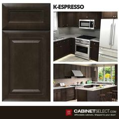 Buy Espresso Kitchen Cabinets - RTA Cabinets by CabinetSelect Expresso Kitchen Cabinets, Rta Cabinets, Espresso Kitchen, 10x10 Kitchen, New Kitchen, Dark Brown Cabinets, Brown Kitchens, Kitchen Cabinet Remodel, Thing 1