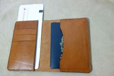 Leather Passport Cover / Wallet, holds 4 passports, card holder slots