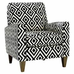 Midcentury-inspired arm chair with geometric-print upholstery and square taper legs