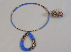 Maasai Charm Necklace and Earrings Set by TheTravelSistaStore