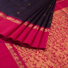 Sri Sagunthalai Silks Handwoven Korvai Kanchipuram Silk S Blue with pink saree With Shikargarh Pallu 10007315 - AVISHYA. Bridal Silk Saree, Soft Silk Sarees, Saree Wedding, Cotton Saree, Silk Saree Kanchipuram, Handloom Saree, Indian Wedding Wear, Indian Bridal, Indian Wear