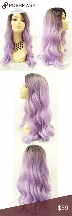 """Light purple long wavy heat resistant wig Featuring a beautiful long length and loose waves, this wig will give you that stylish fresh out of the salon look. Made with lightly texturized, heat resistant synthetic fibers.  Color: Light Purple with Dark Black Roots (TT1B/LPURPLE) Length: 25"""" inches Circumference: Default at 21"""" with adjustable cap (max 22"""") Materials: Heat Resistant Fiber  Wig prices are firm. Accessories Hair Accessories"""