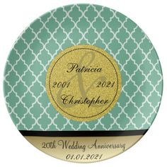 Spearmint Green Moroccan 20th Wedding Anniversary Porcelain Plate