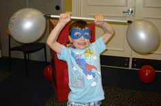 """Super Hero party - """"weight lifting"""" because super heroes are super strong."""