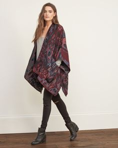 *ABERCROMBIE & FITCH || Patterned blanket poncho | Manta estilo poncho estampada