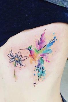 B Tattoo, Mom Tattoos, Cute Tattoos, Body Art Tattoos, Tatoos, Watercolor Daisy Tattoo, Hummingbird Tattoo Watercolor, Cool Small Tattoos, Pretty Tattoos