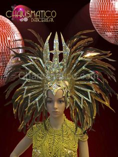 Charismatico Dancewear Store - CHARISMATICO Yellow and brown feather gold…
