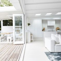That feeling when you push the bifold doors all the way open 😝😎🌴 Home Room Design, Home Interior Design, Exterior Design, Interior And Exterior, House Design, White Bifold Doors, Home Reno, House Goals, Windows And Doors