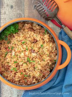 """Red Rice - Gullah Style is an adaptation from the cookbook Bittle en' T'ing"""" Sweet Potato Biscuits, Sweet Potato Recipes, Sausage Biscuits, Rice Recipes, Fried Chicken Skillet, Main Dishes, Side Dishes, Smoked Ham, Southern Recipes"""