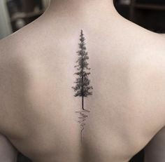 Beautiful Nature Pine Evergreen Tree Spine Tattoo Ideas for Women at MyBodiArt.com #TattooIdeasBack