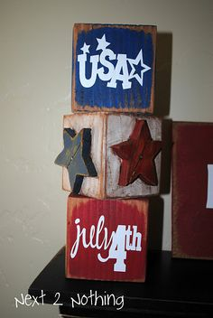 blocks:  U S A ; star; July 4th