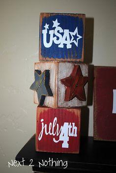 blocks:  U S A ; star; July 4th