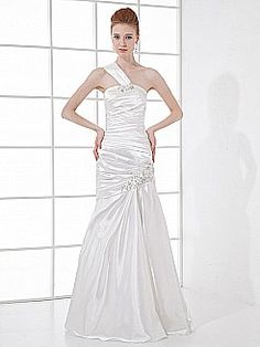 One Shoulder Elastic Satin Bridal Gown with Ruched Bodice and Rhinestone - USD $142.58