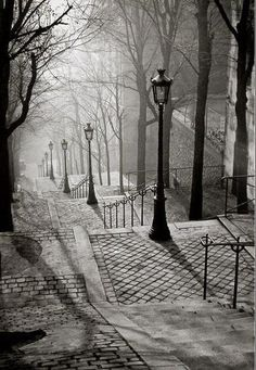 Montmartre, Paris, France, 1936 by Brassai.my favorite place we visited in paris Montmartre Paris, Paris 3, Paris Cafe, Paris 1920s, Oh The Places You'll Go, Places To Travel, Places To Visit, Street Photography, Nature Photography