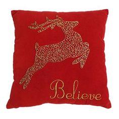 St. Nicholas Square® ''Believe'' Reindeer Throw Pillow