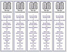 Five printable Ten Commandments bookmarks print per page, free printable from http://ActivitiesForKids.com  - great handout for VBS