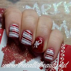 The Call of Beauty: Winter Nail Art Challenge: Christmas Candy Cane Manicure