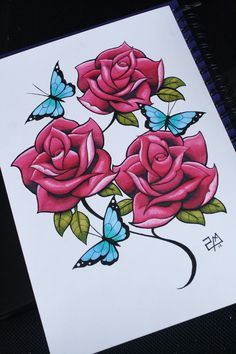 ▷ 1001 + models and tips for learning how to draw a rose - color flower drawing example, cute drawing of red roses with green leaves with blue butterflies, fl - Rose Drawing Tattoo, Tattoo Drawings, Colorful Drawings, Cool Drawings, Rose Zeichnung Tattoo, Foto Twitter, Art Papillon, Mandala Rose, Rose Sketch