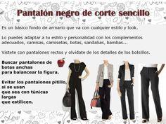 Pantalón negro formal Estilos cuerpo tipo manzana