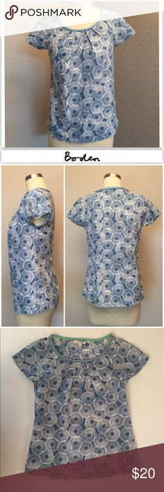 """Boden Cotton Cap Sleeve Top Blue and white swirl print cap sleeve top. Pleated Neckline / ribbon neck detail Cap sleeves Size 2 Excellent condition  Length- 23"""" bust- 16.5"""" Boden Tops Blouses"""