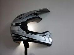 Upcycled helmet wall light - home decor.site Upcycled helmet wall lamp Source by Dirt Bike Bedroom, Motocross Bedroom, Bike Room, Bike Storage, Cheap Home Decor, Home Decor Accessories, Entryway Decor, Upcycle, Wall Lights