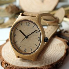 Womens Bamboo Watch - Leather Strap - Bamboo Watch - I Sell Goods