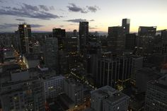 'View from the Vancouver Lookout to office buildings in Vancouver Downtown at night' von stephiii bei artflakes.com als Poster oder Kunstdruck $15.68