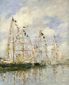 Eugène Boudin (French, 1824-1898), Yacht Basin at Trouville-Deauville, c. 1895-96. Oil on wood, 45.9 x 37.1 cm.