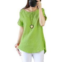 Gender: Women Decoration: Pockets Clothing Length: Regular Pattern Type: Solid Sleeve Style: Regular Style: Casual Fabric Type: Broadcloth Material: Cotton,Linen Collar: O-Neck Sleeve Length: Short Thickness: thin Sleeve: Short sleeve Color classification: White light green size: XXL XXXL 4XL L XL M