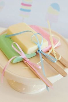 Popsicle lollipops--love the colors and the ribbon.