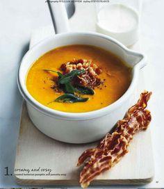 roasted butternut pumpkin and pancetta soup Crockpot Recipes, Soup Recipes, Cooking Recipes, Healthy Recipes, Roasted Butternut, Roasted Squash, Pumpkin Soup, Soup And Sandwich, Crock Pot Cooking