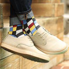 Statement Sockwear checkered design featuring the April Sock Color of the Month: Apple Red. Funky Socks, Colorful Socks, Sock Shoes, Men's Shoes, Bold Fashion, Mens Fashion, Der Gentleman, Dapper Men, Dress Socks