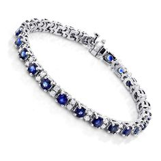 Feel and look your best wearing this Gold Blue Sapphire Diamond Tennis Bracelet For Women; this beatiful ladies diamond bracelet showcases carats of G/VS quality diamonds and carats of blue sapphires. This blue sapphire diamond bracelet has Sapphire Bracelet, Sapphire Jewelry, Diamond Bracelets, Gemstone Bracelets, Sterling Silver Bracelets, Sapphire Diamond, Blue Sapphire, Diamond Studs, Diamond Jewelry