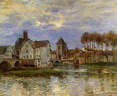 The Moret Bridge At Sunset - Alfred Sisley